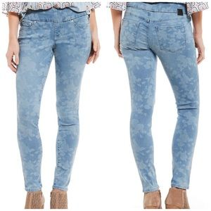 NWT Jag Jeans Nora Skinny pull on white flower 6